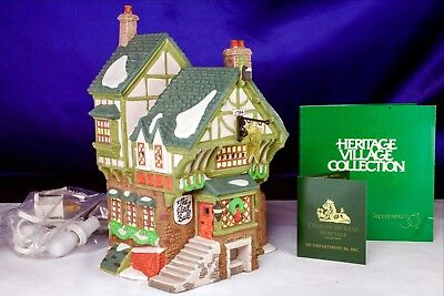 "Dickens Village Heritage Dept 56 ""The Pied Bull Inn"" 1993 Complete Set In Box"