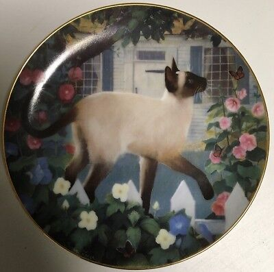 """Collectible 8 1/2"""" Siamese Cat Plate Madam Butterfly by Susan Leigh 1988"""