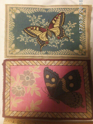 Antique Vintage Lot of 2 Butterfly Tobacco Felt Mini Rug