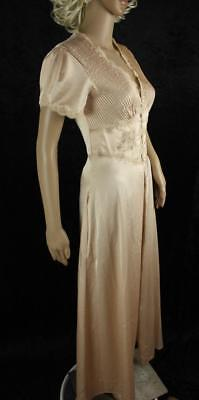 Vintage Christian Dior Hollywood Glam Satin Nightgown Dressing Robe Beige Lace