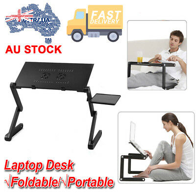 Adjustable Foldable Portable Laptop Desk Table Stand Bed Tray For PC Notebook AU