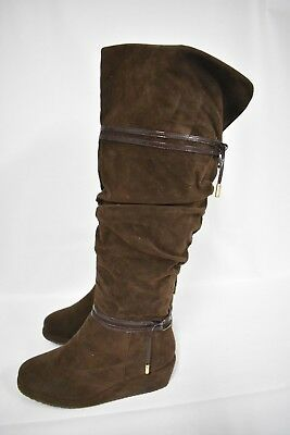042b34e77 ENZO LITTLE,BIG KIDS youth Girls Brown Knee High Wedge Boot Boots size 4 -  $41.97 | PicClick