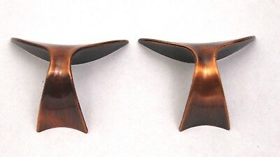 Pair Vintage Mid-Century Deco Copper Whale Tail Cabinet Drawer Pulls Handles
