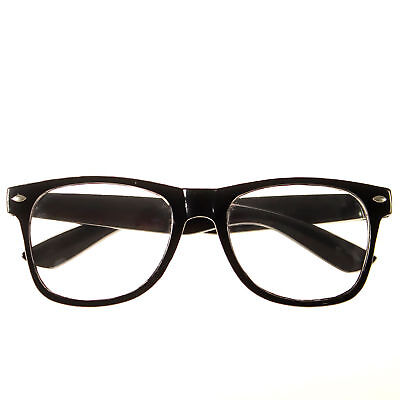 f3983febc28 NEW BLACK FRAME RETRO Geek Nerd Non Prescription Clear Lens Eye Glasses w