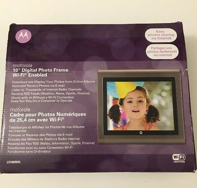 "Motorola LS1000Wb 10"" HD LCD Digital Photo Frame Picture Movie Player Black"