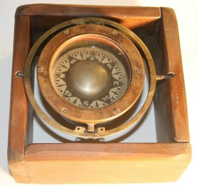 Antique 1800s Ships Compass in Wooden Frame
