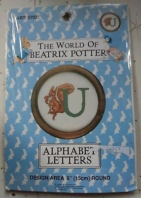 COUNTED CROSS STITCH EMBROIDERY KIT - Beatrix Potter ALPHABET LETTER 'U' - NEW