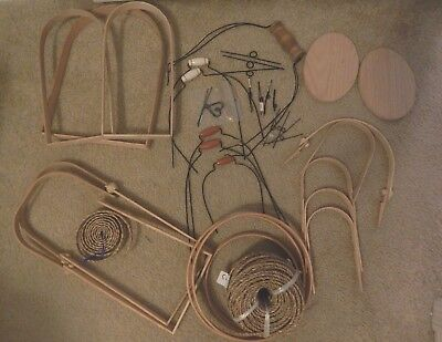 Lot Basket Weaving Supplies Wire & Wooden Handles, Slotted Bases, Seagrass