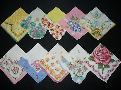 Lot of 25 Vintage Floral & Print Hankies Handkerchiefs Good Condition No Holes