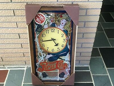 Vintage Rare Pepsi Cola Glass Mirror Clock Antique new in box Retro Old