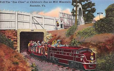 """VINTAGE LINEN,R-82 The """"Zoo Choo"""" at Children's Zoo on Mill Mountain, C019830"""