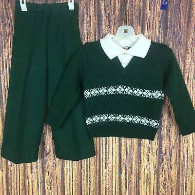 Vintage Little World Green Pant Set 3t Collared Sweater St Patrick's Day