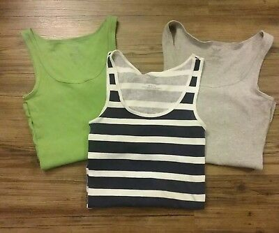 Lot of 3 Womens Tank Tops Size Medium Pre Owned Stripes and Solid