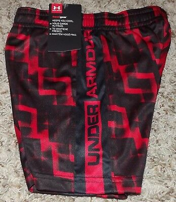 NWT Toddler Boys Under Armour HeatGear Red & Black Athletic Shorts Size 3T