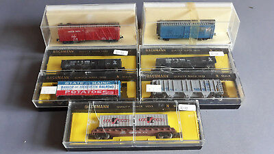 Bachmann Vintage Us Style Freight Cars X 7 Good Condition Boxed N Scale(Bg)