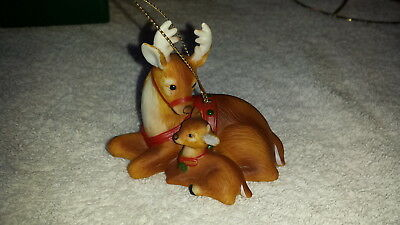 """Gorham Christmas Traditions Ornament, """"Reindeer & Fawn"""" 1985"""