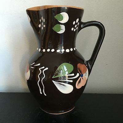 Hungarian Clay Pitcher Vintage Sarospatak Jug Pottery Hand Painted Redware