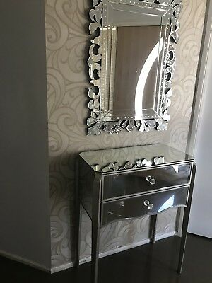 Mirrored Dressing  Hall Way Table With Mirror Drawer Domayne Used In Exc Cond