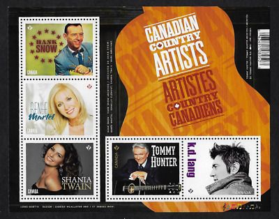 Canada Stamps - Souvenir sheet of 5 - 2014, Canadian Country Artists #2765 - MNH
