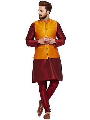 Men's Traditional Indian Kurta Pajama With Nehru Jacket Fastival Ethnic Wear