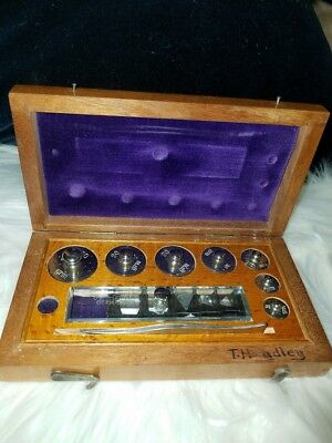 Antique Jewelry Scale Weights In Original Wooden Box