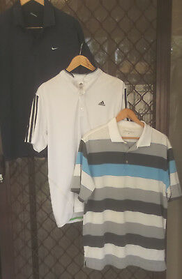 3 X Mens Golf Shirts Size M - Nike & Adidas