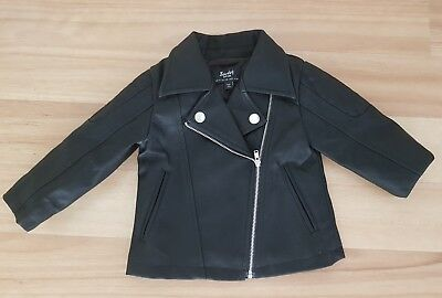 BNWOT Bardot Junior Size 0 Black Leather Look Biker Jacket with embroidery Baby