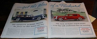 1936 SEP 2 Double Page Print Ads Four Different Models Packard Automobile