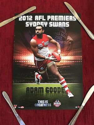 Sydney Swans 'This Is Greatness' Adam Goodes 2012 Afl Grand Final Poster