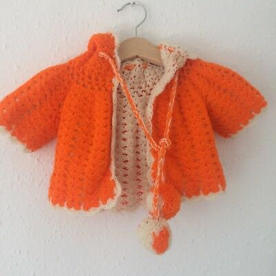 Vintage Baby Kids Boho 70s Orange Crochet Knit Pixie French Retro Cardigan 0-3 M
