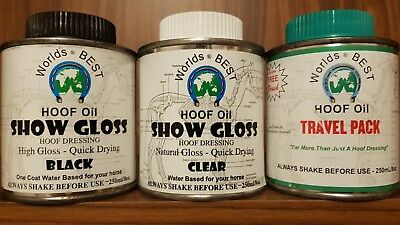 horse hoof set: oil, clear gloss & show black RRP $35