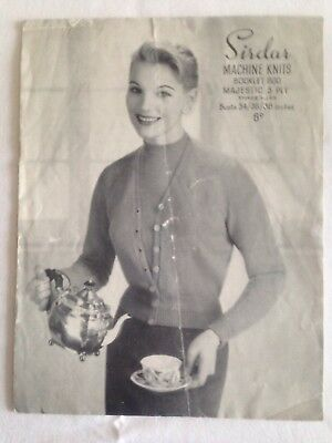 "Vintage 1950s(?) Machine Knitting Pattern Lady's Twin Set 34/36/38"" Sirdar 800"