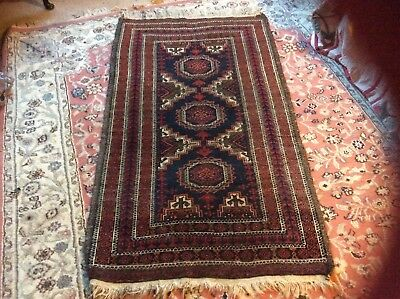 Persian hand knotted wool rug tribal /Balouch, shabby chic, reupholstery