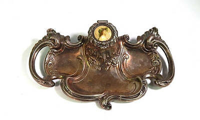 French Antique Metal Ink Stand Belle Epoque Ink Well