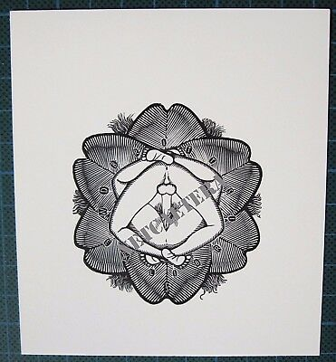 ex libris bookplate by MARK SEVERIN - 87 - flower erotic composition