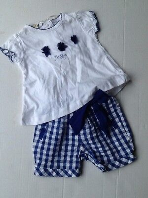BNWT iDo Baby Girls 2 Piece T Shirt /& Navy Check Shorts Outfit Set M654