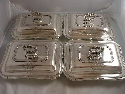 1835 William IV TERREY SET 4 Quality Silver Entree Dishes 8572 grams Armorial