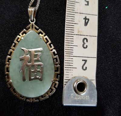 Vintage Chinese Export Sterling Silver Natural Jade Jadeite Fu Pendant & Chain