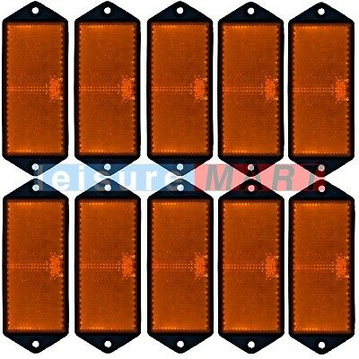 Trailer and truck reflectors rectangular amber orange screw on set of 10