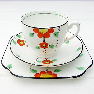 Vintage 1930s Deco Colclough Vale Handcraft Bone China Tea Plate Cup Saucer Trio