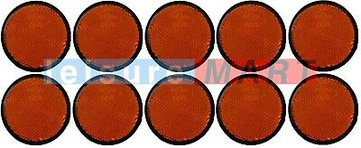 Trailer and truck reflectors round amber orange stick on set of 10