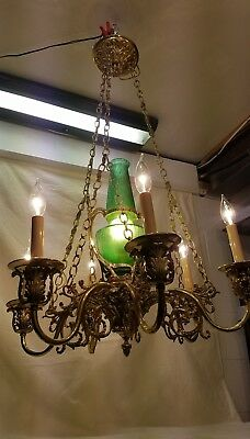 Unique Gothic Antique BRASS/BRONZE CHANDELIER VINTAGE French 7 Light Green Glass