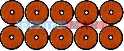 Trailer and truck reflectors round amber orange screw on set of 10