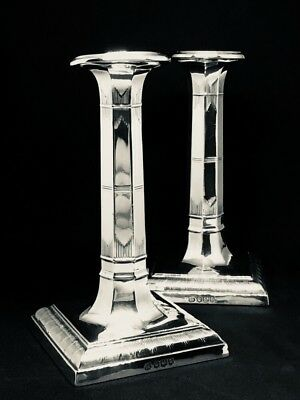 *VERY RARE* 1918 Thomas Bradbury & Sons Sterling Silver Candlesticks (Pair)