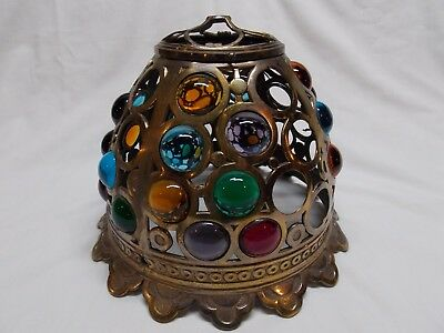 Vintage brass lampshade. Glass jewels (many missing). Cabochon gemstones. Heavy