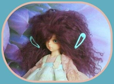 BJD doll Burgundy mohair wig for 17cm circumference head doll   **  NO DOLL  **