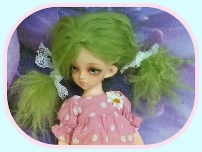 BJD doll Lime green mohair wig for 17cm circumference head doll  **  NO DOLL  **