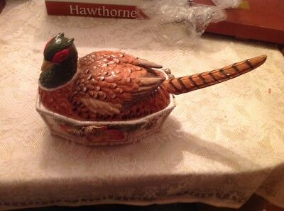Fitz and Floyd Hawthorne RARE Pheasant Tureen with Tail Ladle Preowned