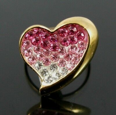 Neoglory. Gold Heart Ring With Swarovski Elements Pink & Clear Crystals.