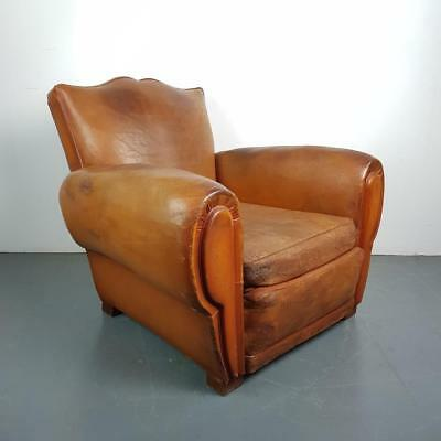 VINTAGE FRENCH CAMEL BROWN LEATHER MOUSTACHE CLUB CHAIR 20s 30s ART DECO #2211